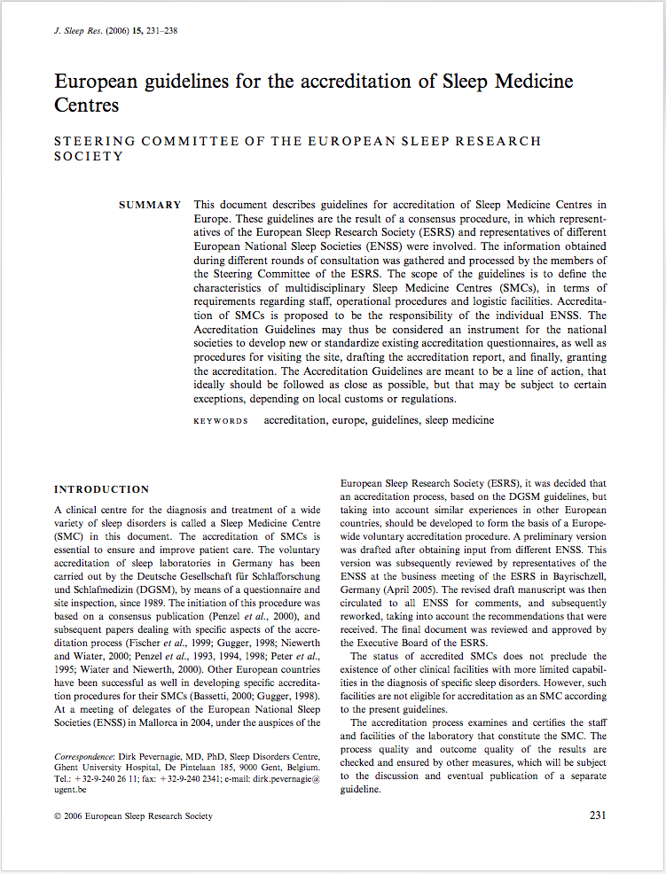 European guidelines for the accreditation of Sleep Medicine Centres